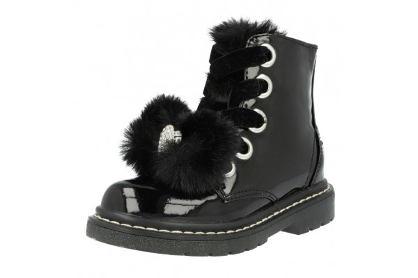 Lelli Kelly lk 6520 Fur Bow Black Patent Ankle Boot