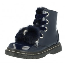 Lelli Kelly lk 6520 Fur Bow Blue Patent Ankle Boot
