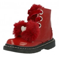 Lelli Kelly lk 6520 Fur Bow Rosso Patent Ankle Boot
