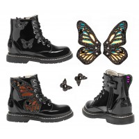 Lelli Kelly LK 6540 Fairy Wings Black Patent Ankle Boot Limited Edition