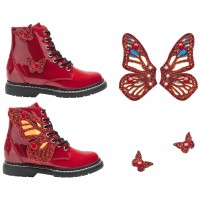 Lelli Kelly LK 6540 Fairy Wings Rosso Patent Ankle Boot Limited Edition