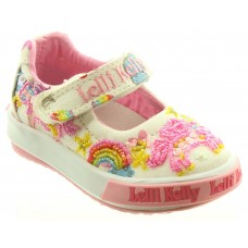 Lelli Kelly LK 9000 Unicorn Canvas Baby Dolly Shoes White