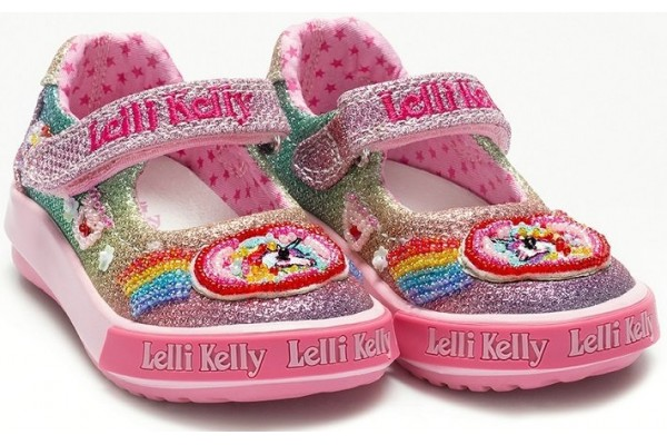 Lelli Kelly LK 9020 Rainbow Multi Glitter Sparkle Baby Dolly Shoes