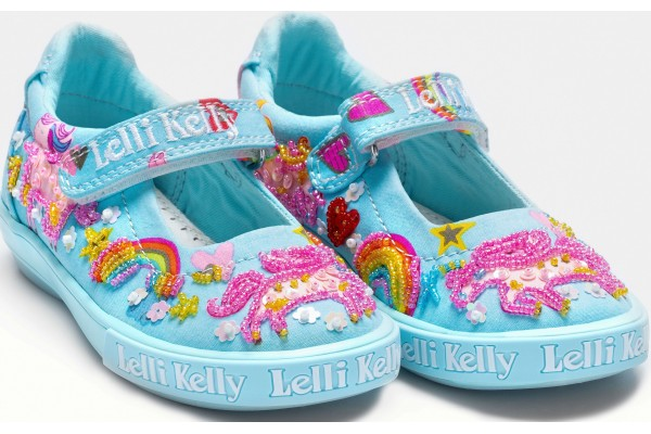 Lelli Kelly LK 9050 Unicorn Canvas Dolly Shoes Light Blue