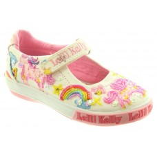 Lelli Kelly LK 9050 Unicorn Canvas Dolly Shoes White