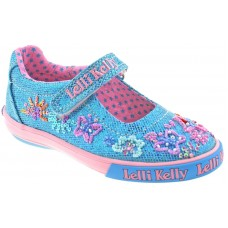 Lelli Kelly LK 9082 Turquoise Glitter Summer Butterfly Dolly Shoes
