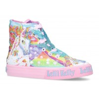 LELLI KELLY YOUTH LK 9090 UNICORN CANVAS BOOTS HI-TOPS MULTICOLOURED