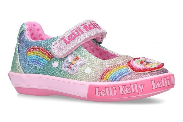 Lelli Kelly LK 9070 Unicorn Multi Glitter Rainbow Sparkle Dolly Shoes