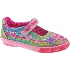 Lelli Kelly LK 5072 Rainbow Hearts Multi Glitter Dolly Shoes