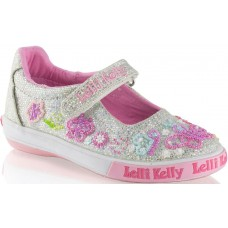 Lelli Kelly LK 5076 Silver Glitter Butterfly Dolly Shoes