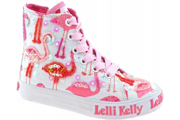 LELLI KELLY LK 5090 WHITE FLAMINGO HI-TOP BOOTS