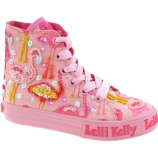 LELLI KELLY LK 5090 PINK FLAMINGO HI-TOP BOOTS
