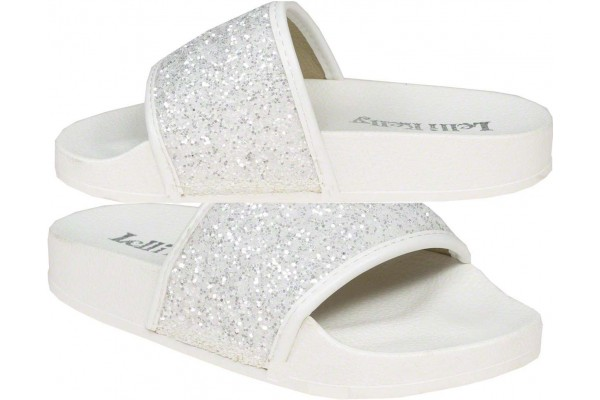 Lelli Kelly LK 5916 Monica Slider Sandals White Glitter