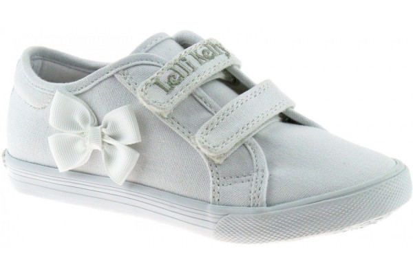 LELLI KELLY LK 8199 LILY SCHOOL PUMPS WHITE CANVAS