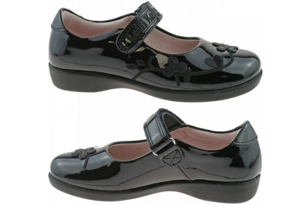 LELLI KELLY LK 8248 SCHOOL SHOES BLACK PATENT G FIT WIDE FIT