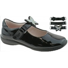 LELLI KELLY LK 8305 INTERCHANGEABLE STRAP SHOES BLACK PATENT F FIT
