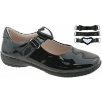 Lelli Kelly LK 8400 Colourissima Interchangeable Straps School Shoes F Fit Black Patent