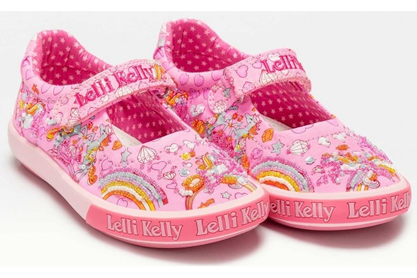 Lelli Kelly LK 1050 Dorothy Unicorn Canvas Dolly Shoes Rosa Pink Multi