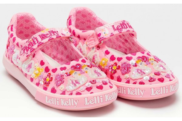 Lelli Kelly LK 1052 Rosa Pink Swan Canvas Dolly Shoes