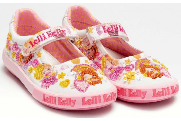 LELLI KELLY LK 1056 HERMIONE DOLLFACE CANVAS WHITE DOLLY SHOES