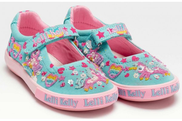 Lelli Kelly LK 1058 Mary D Unicorn Canvas Dolly Shoes Turq Multi