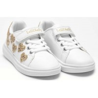 Lelli Kelly LK 1838 Heart White Gold Girls Glitter Heart Trainers