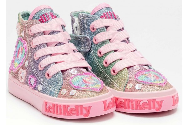 Lelli Kelly LK 7016 Gem Multi Glitter Unicorn Sparkle Baby Boots HI-Top