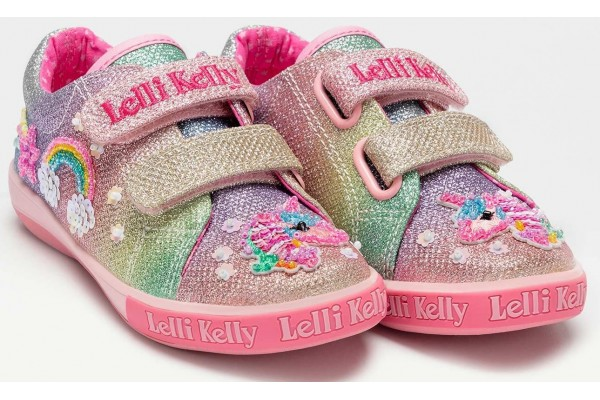 Lelli Kelly LK 7077 Rainbow Treasure Unicorn Trainer Shoes