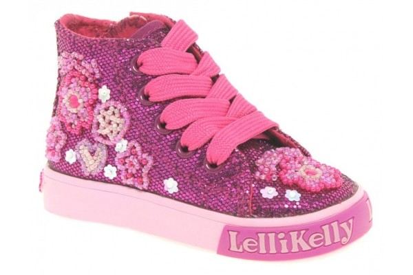 Lelli Kelly LK 8091 Multi Glitter Purple Baby Boots HI-Top Pre Order Available From 10/5/21