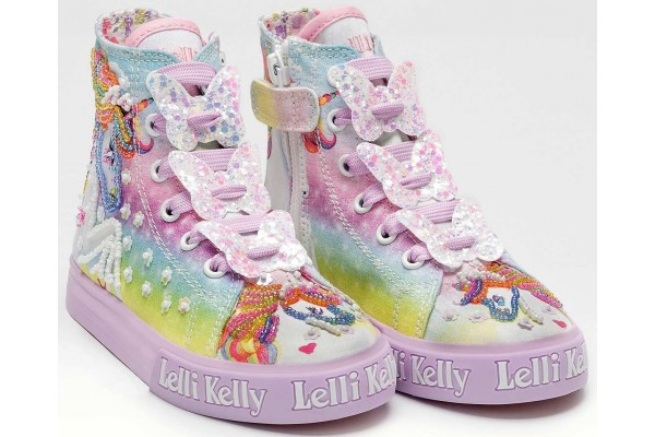 LELLI KELLY LK 9099 UNICORN CANVAS BOOTS HI-TOPS LILAC MULTICOLOURED