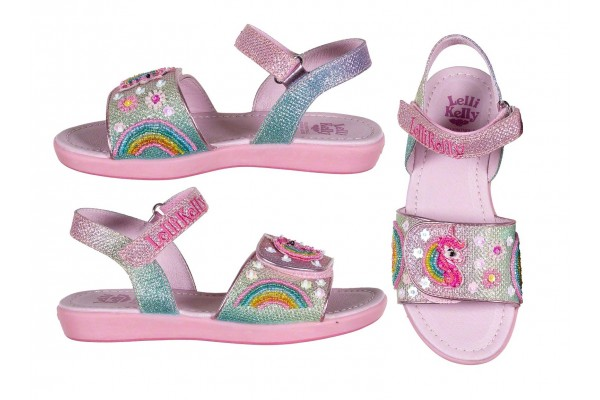 Lelli Kelly LK 1402 Rainbow Unicorn Multi Glitter Sparkle Sandals