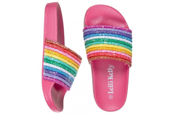 Lelli Kelly LK 1902 Iris Rainbow Glitter Slider Sandals Fuxia