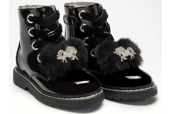 Lelli Kelly lk 5520 Unicorn Fur Bow Black Patent Ankle Boot