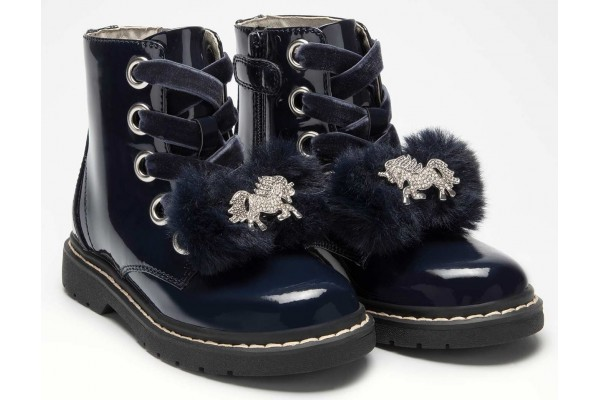 Lelli Kelly lk 5520 Unicorn Fur Bow Blue Patent Ankle Boot