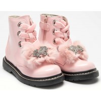 Lelli Kelly lk 5520 Unicorn Fur Bow Pink Rosa Patent Ankle Boot