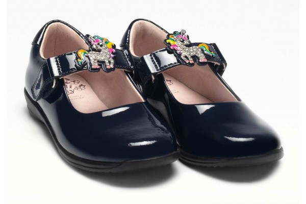 LELLI KELLY LK 8311 BONNIE UNICORN INTERCHANGEABLE STRAP SHOES F FIT NAVY PATENT