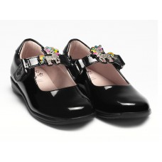 LELLI KELLY LK 8311 BONNIE UNICORN INTERCHANGEABLE STRAP SHOES F FIT BLACK PATENT