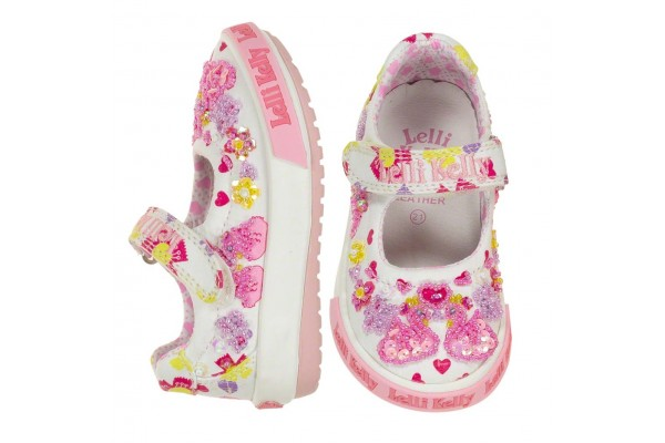 Lelli Kelly LK 1002 Swan Canvas Baby Dolly Shoes White