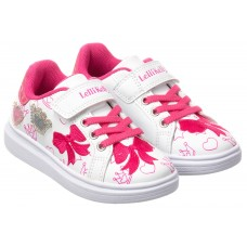 Lelli Kelly LK 1824 Lucy White Fuxia Girls Pink Bow Trainers