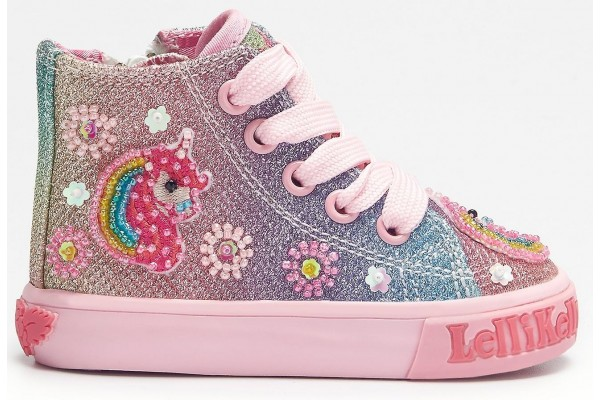 Lelli Kelly LK 1006 Multi Glitter Unicorn Sparkle Baby Boots HI-Top