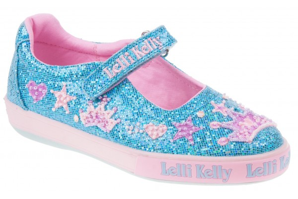 Lelli Kelly LK 1078 Turquoise Glitter Tiara Dolly Shoes