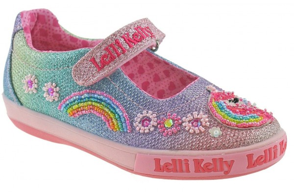 Lelli Kelly LK 1082 Rainbow Unicorn Multi Glitter Sparkle Dolly Shoes