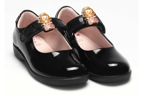 LELLI KELLY LK 8215 PRINNY 2  PRINCESS SCHOOL SHOES F FIT BLACK PATENT